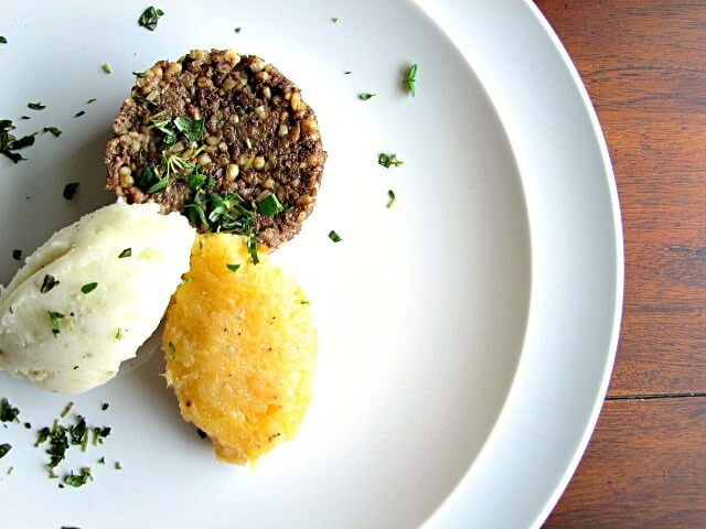 Traditional Scottish Haggis with Neeps and Tatties