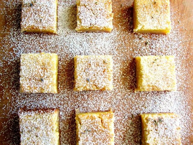 Lavender lemon bars with a buttery crust