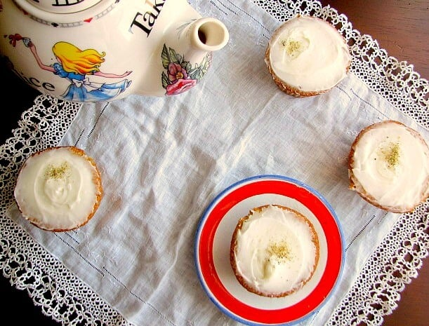Mini chamomile tea cakes with a honey frosting