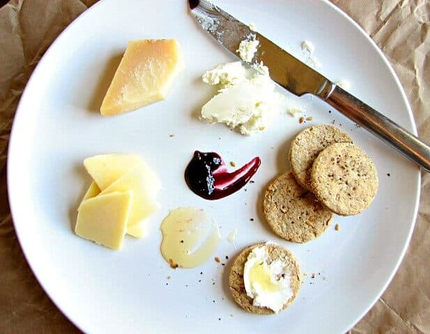 The perfect lunch of crackers and cheese