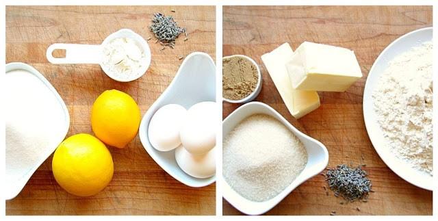Ingredients for lavender lemon bars