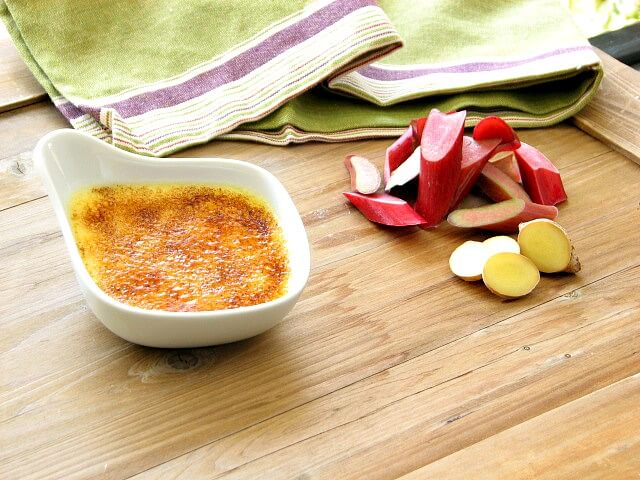 Rhubarb and ginger creme brulee with a crunchysugar topping
