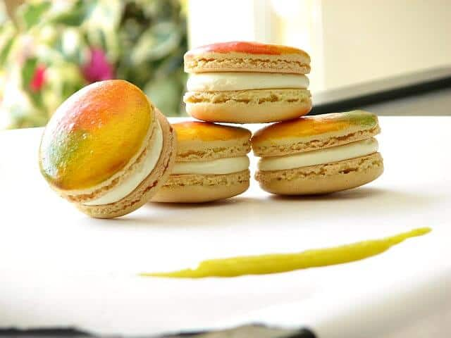 French macarons filled with a mango cream