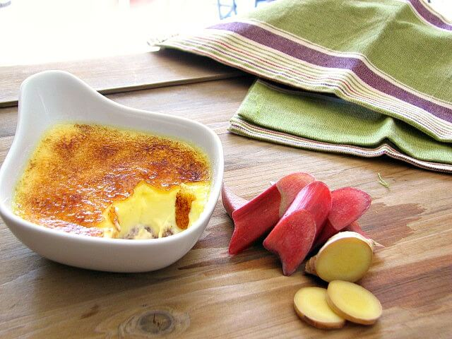 Rich and creamy rhubarb creme brulee