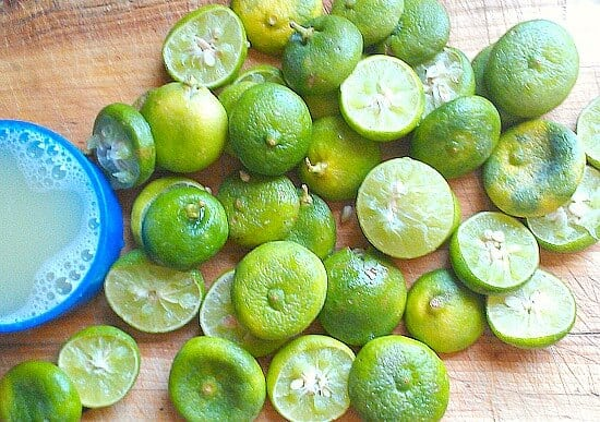 Lots of key limes for my key lime bars