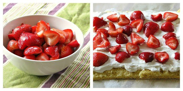 Light strawberry shortcake sponge filled with strawberries and whipped cream