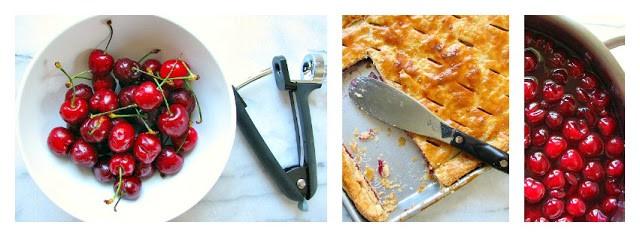 Making cherry slab pie