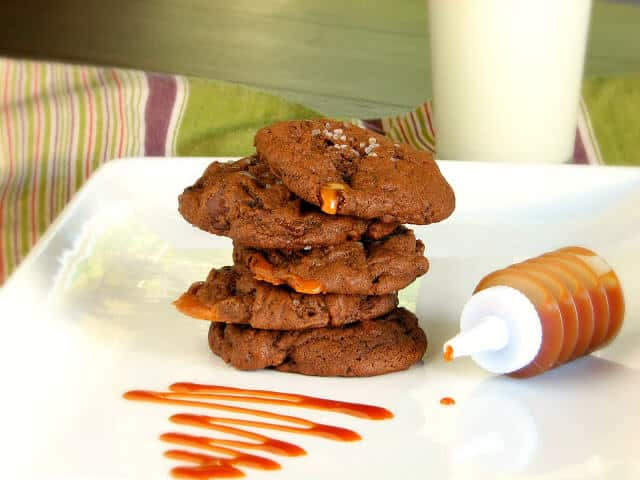 Chunks of salted caramel cookies with chocolate