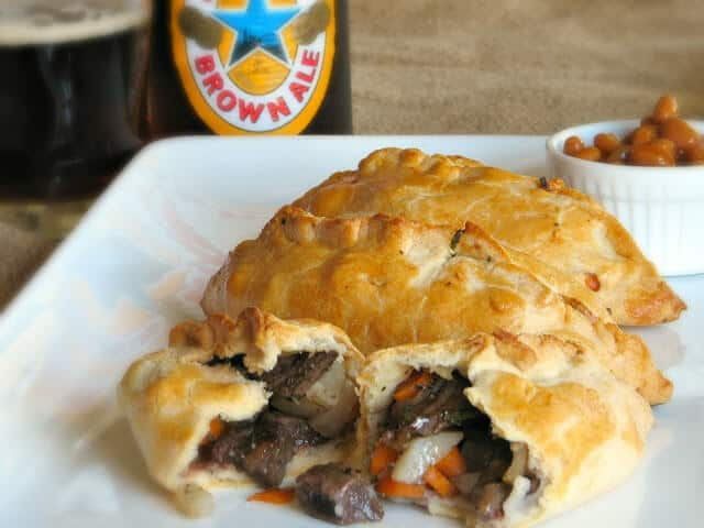 Cornish Pasty filled with braised meat and vegetables