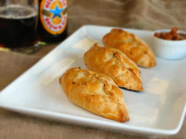 Traditional Cornish Pasty filled with tender meat and vegetables