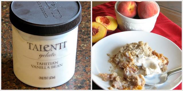 Peach crumble with vanilla ice cream