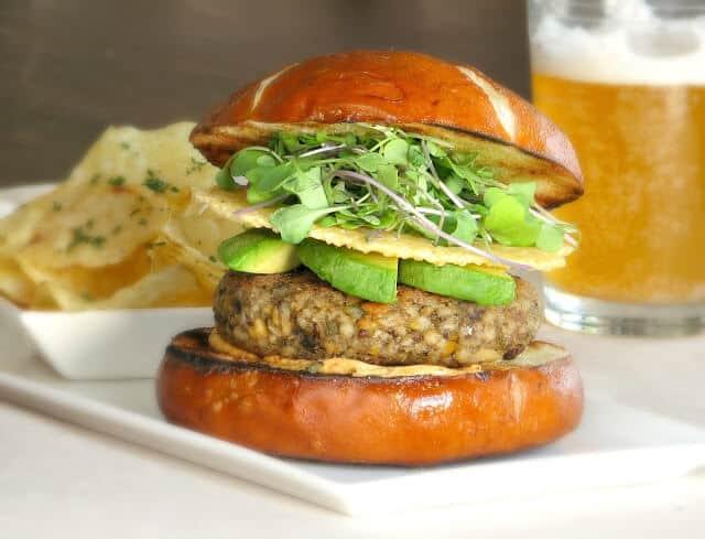 Serve this veggie burger on a toasted pretzel bun for maximum flavor