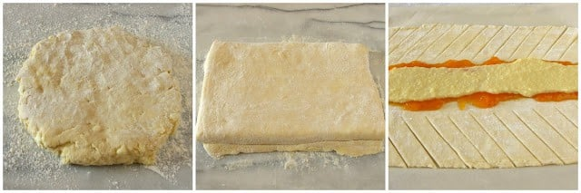 Step shots on how to make a Danish pastry braid