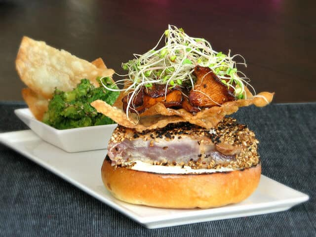 Seared Ahi Tuna Burger with Wontons