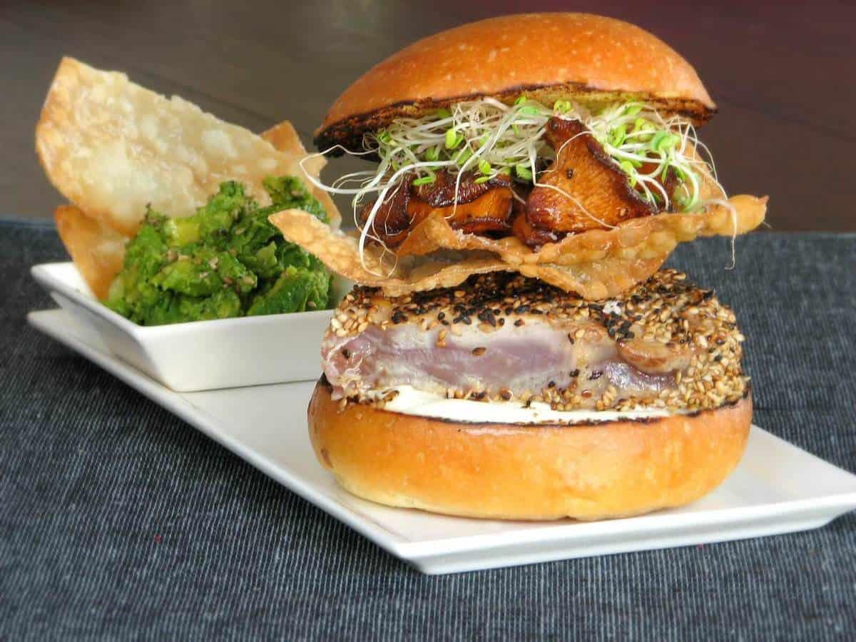 Seared Ahi Tuna Burger with Crispy Wontons