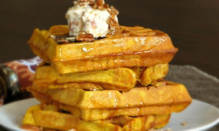 Pumpkin Waffles with Maple Bacon Butter