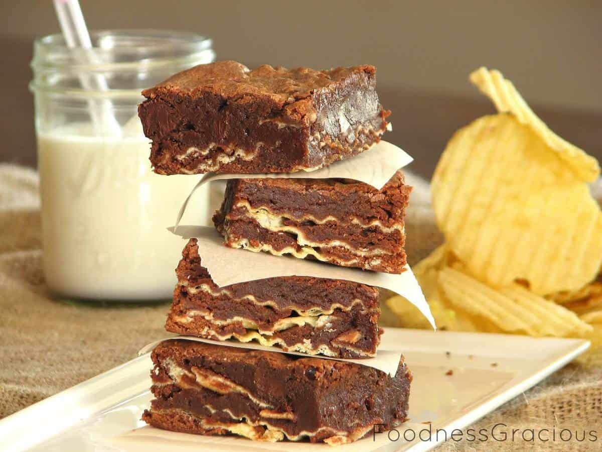 Double Chocolate Potato Chip Brownies