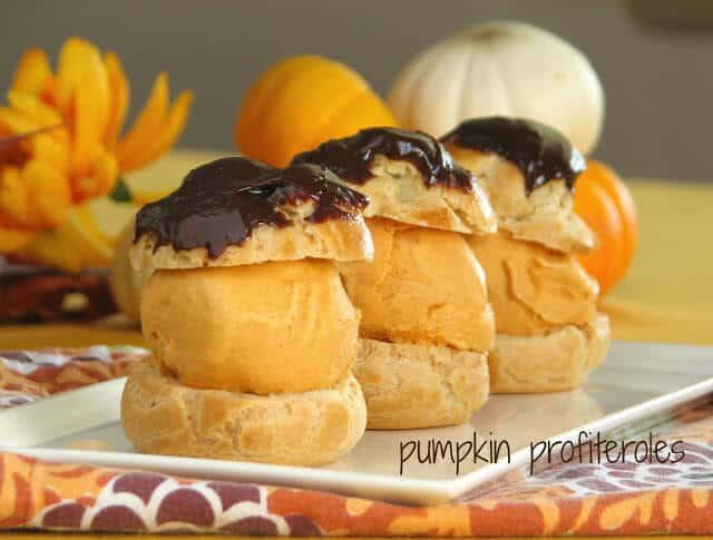Soft pumpkin and chocolate profiteroles