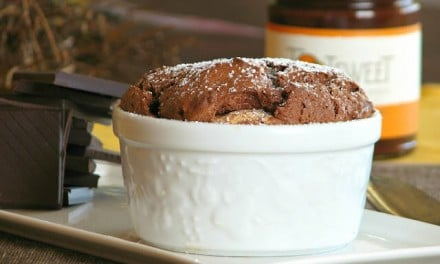 Chocolate Souffle with Vanilla Cream