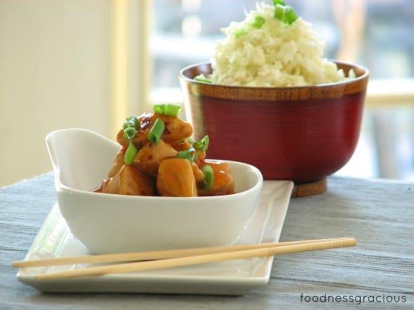 Sweet chunks of orange chicken with cauliflower rice