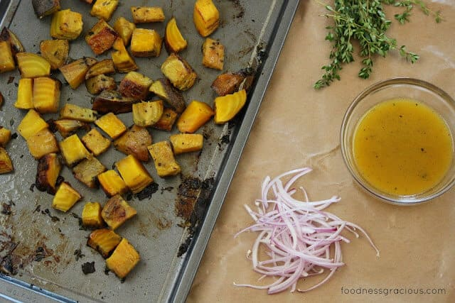 Roasted golden beets with a citrus dressing