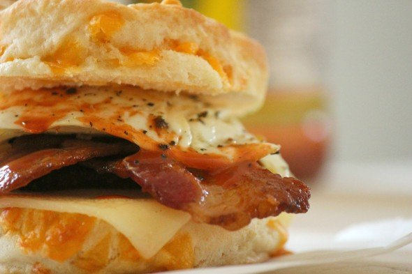 A light fluffy biscuit stuffed with crispy bacon and soft runny egg.