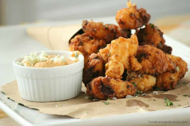 Crunchy fried chicken and a blue cheese dip