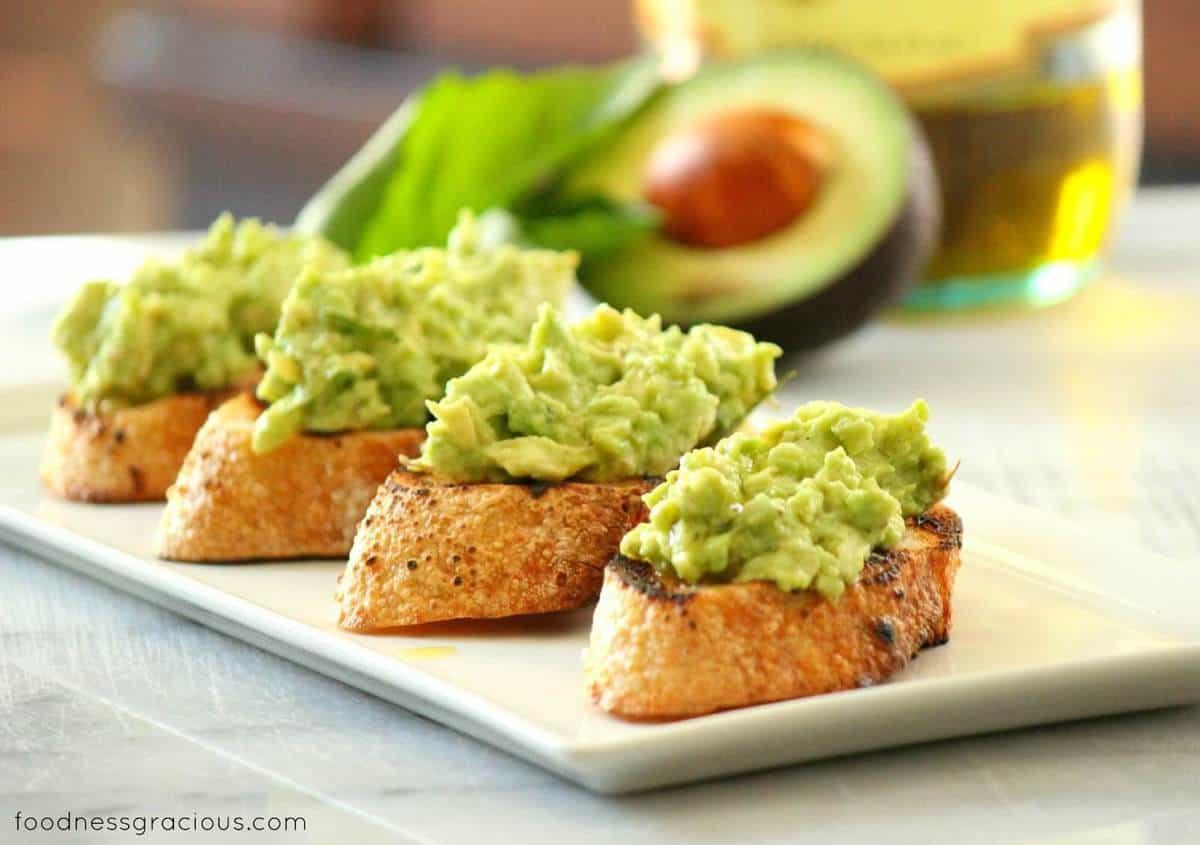Avocado Bruschetta www.foodnessgracious.com