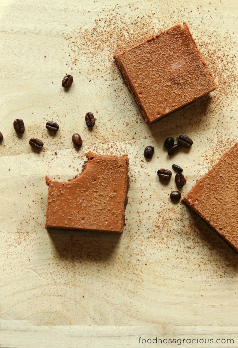 Delicious goat cheese bars with chocolate and espresso