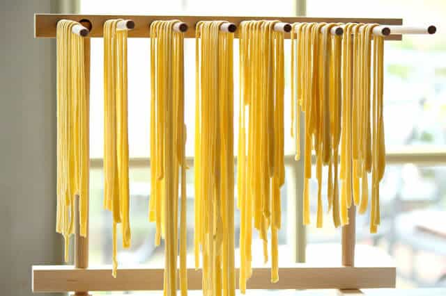 Fresh pasta hanging to dry