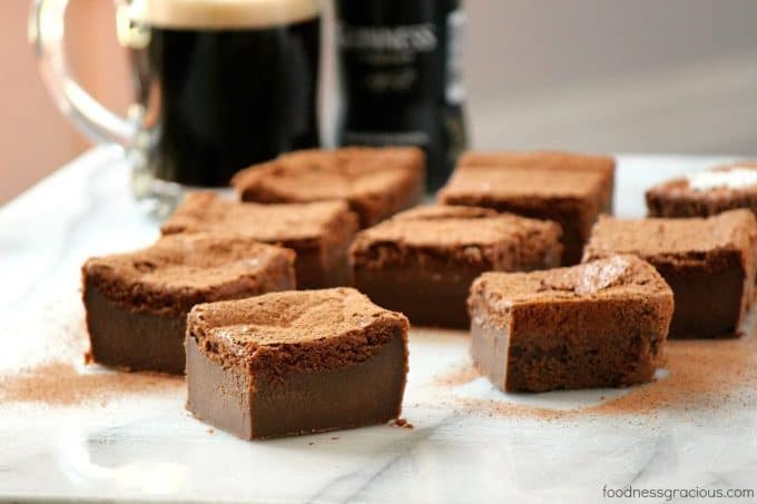 A gooey and dense Chocolate Magic Cake Recipe laced with Guinness and cocoa powder. The perfect dessert for St Patrick's Day!
