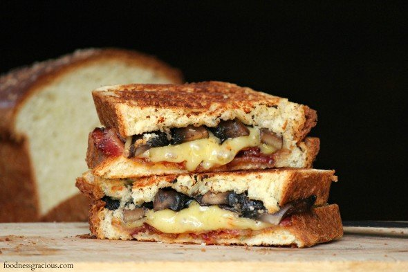 Thick sliced grilled cheese sandwich with bacon and mushroom