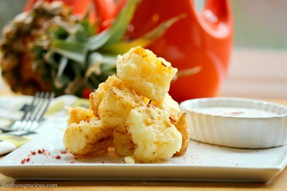 Crispy tempura pineapple chunks