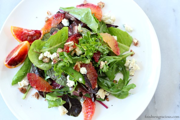 Fresh tasting blood orange salad with blue cheese and toasted pecans