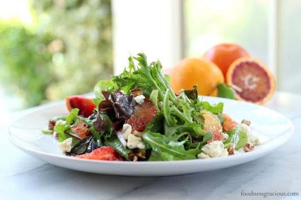 Blood orange salad and creamy blue cheese