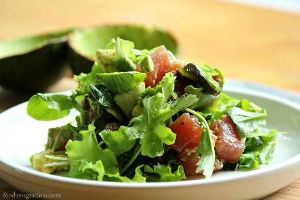 Chunks of ahi tuna in this avocado salad