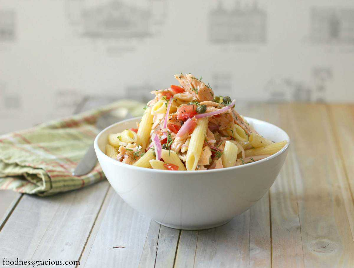 Poached Salmon Pasta Salad