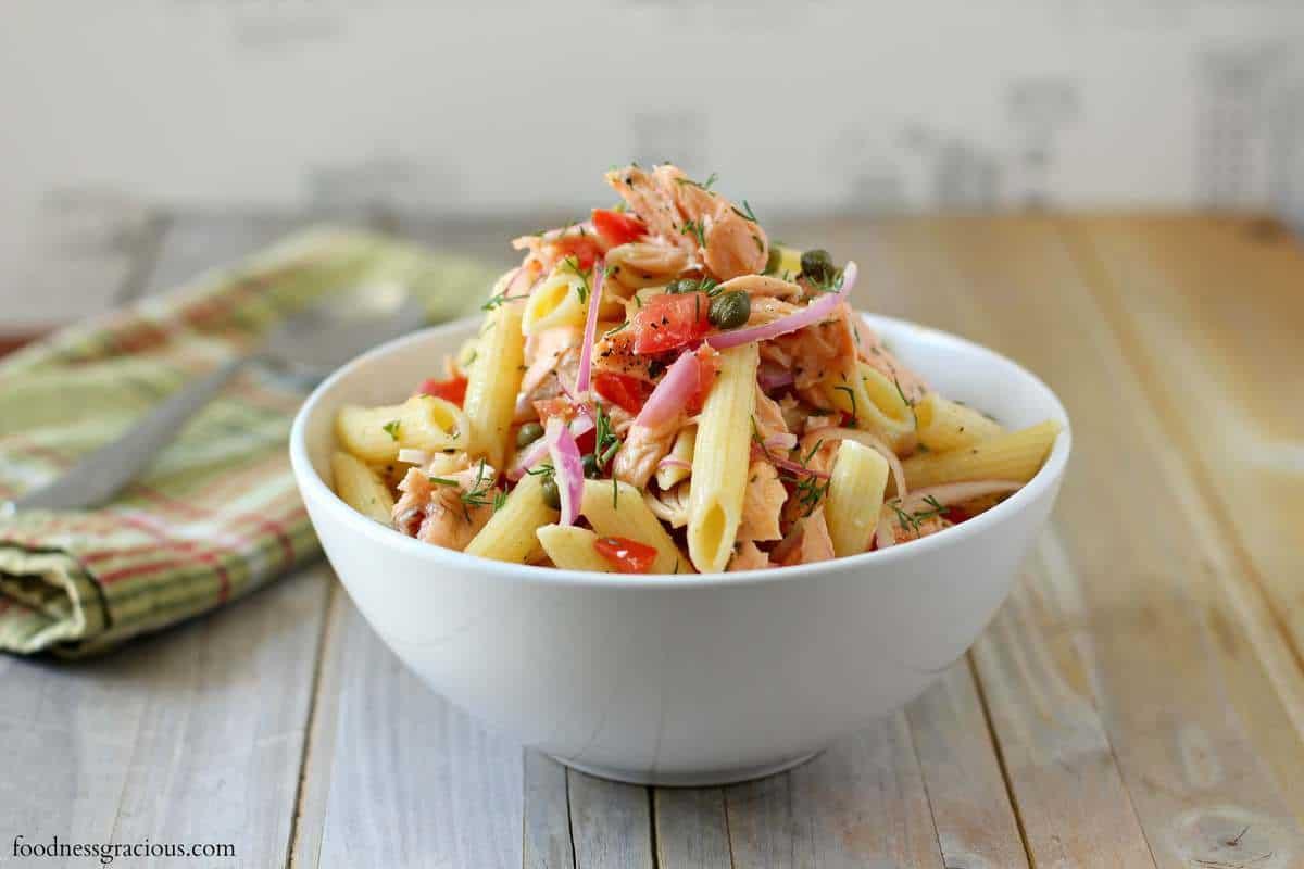 Poached White Wine Salmon Pasta Salad