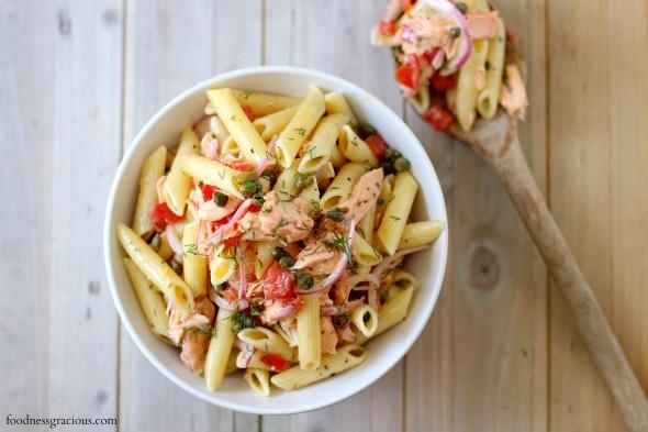 White wine poached salmon pasta salad
