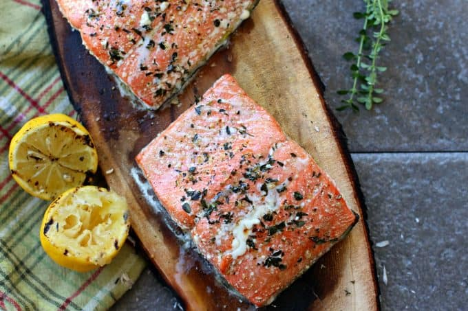 Perfect grilled salmon cooked on a cedar plank