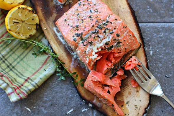 Flaky grilled salmon