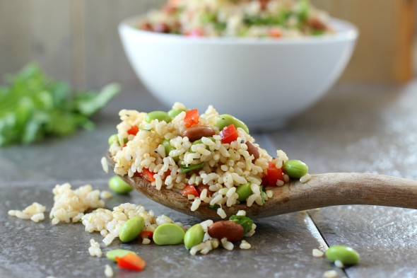 Healthy edamame salad with rice and beans