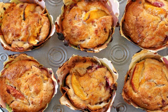 Moist peach and raspberry muffins