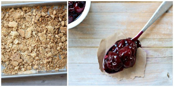 Sweet cherries and buttery crumble mixture for ice cream