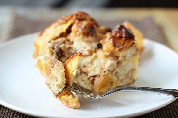 Moist peach and cinnamon bread pudding