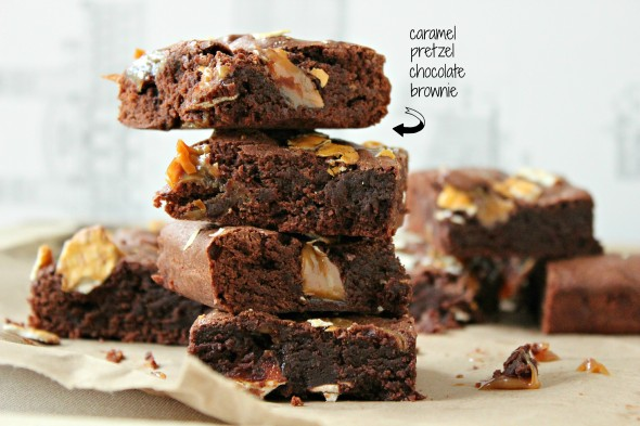Gooey salted caramel brownies with pretzels