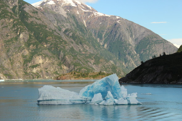 Floating icebergs beside the ship