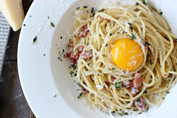 Rich and creamy spaghetti carbonara