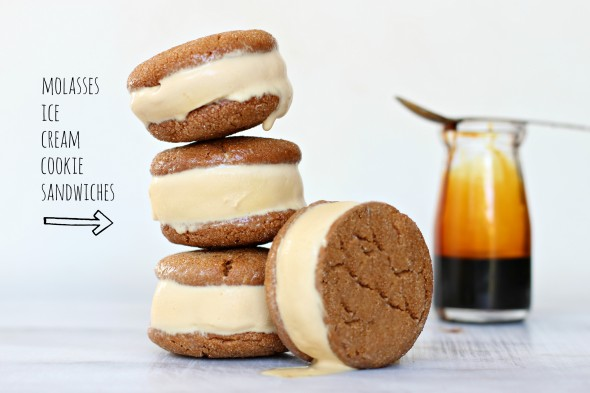 Molasses ice cream cookie sandwiches