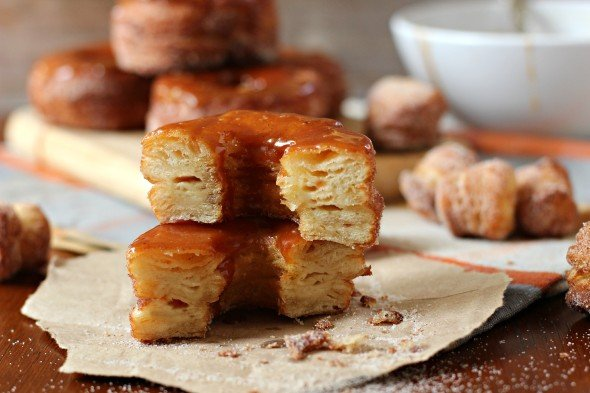 Pumpkin hybrid donut with caramel spice topping